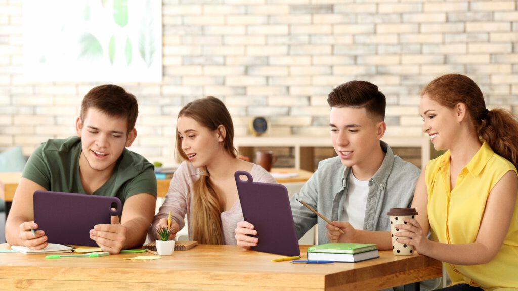 Group of students using Hublet Tablet