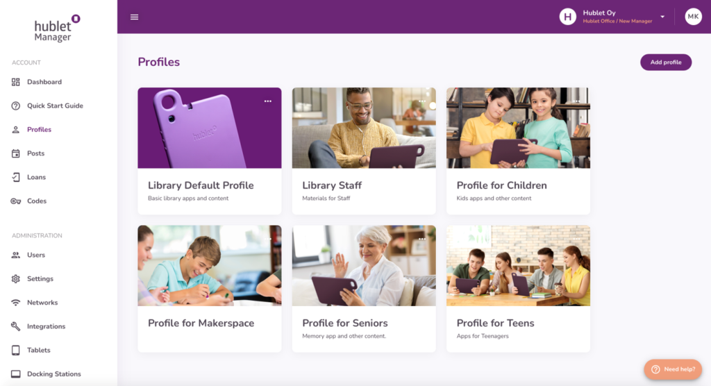 Hublet Manager with Library Profiles
