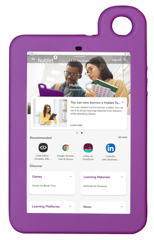 Hublet Tablet with User Profiles for Education